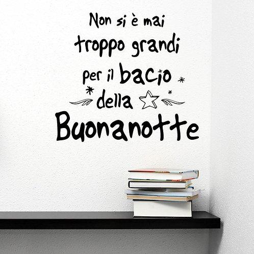 """Adesivo murale frase """"bacio della buonanotte""""50x100cm."""