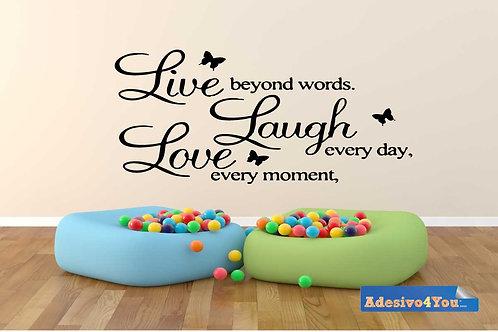 """ADESIVO MURALE CON SCRITTA """"LIVE, LAUGH, LOVE"""",IN VINILE. ADESIVO4YOU ®"""