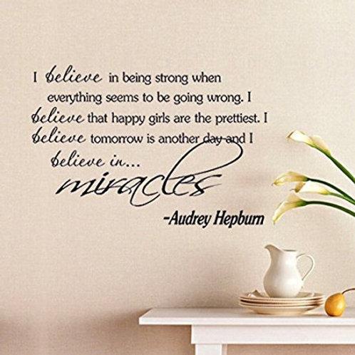 "Adesivo murale citazione Audrey Hepburn ""i believe""100x50cm."