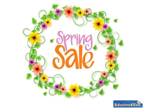 """Adesivo per vetrofanie dei negozi""""spring sale""""50x46-100x93 cm"""