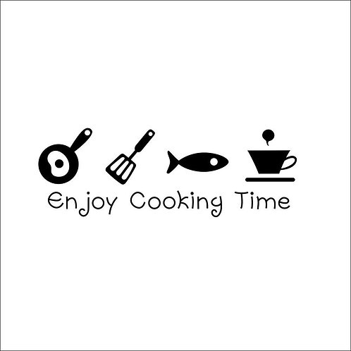 "Adesivo Murale per cucina ""Enjoy cooking time"" wall sticker. (50x40 cm.)"