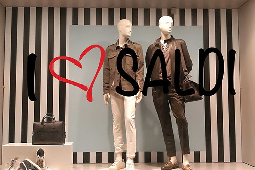 """Scritte Prespaziate:""""I LOVE SALDI"""". 120x65 cm."""