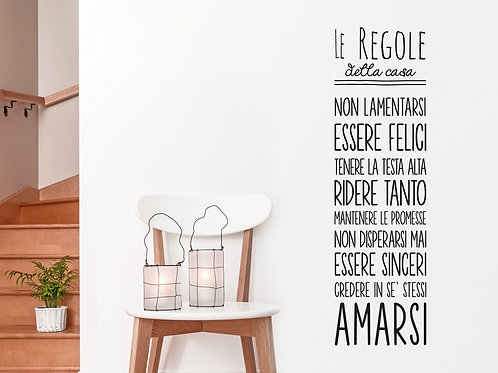 """ADESIVI MURALI """"REGOLE DELLA CASA"""" wall sticker"""