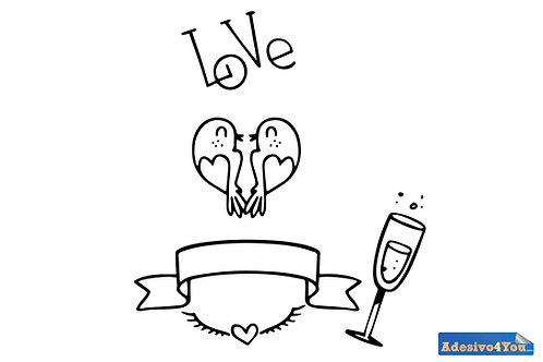 """Adesivo murale""""amore champagne"""" 50x57cm Adesivo4You"""