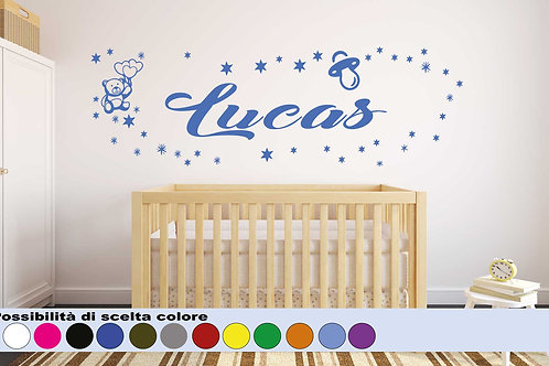 Wall sticker Kids Custom Name with Bear, Stars and Tree.