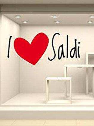 """Scritte Prespaziate:""""I LOVE SALDI"""". Adesivo4You"""