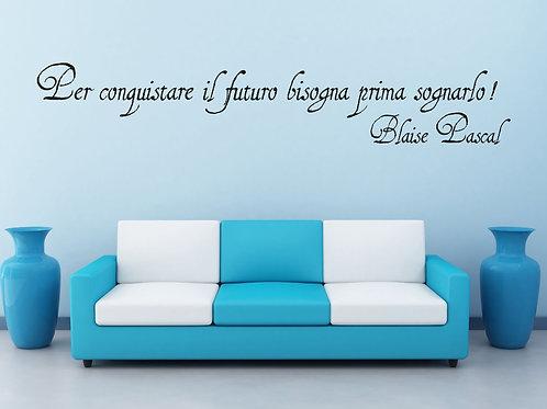 Adesivo murale frase Blaise Pascal100x25cm