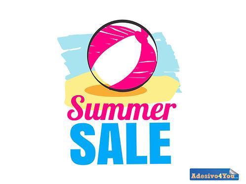 """Adesivo per vetrofanie dei negozi""""saldi estivi-palle da spiaggia""""50x49-100x99cm"""