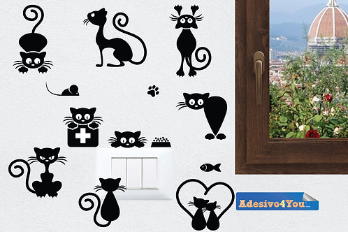 Adesivi vinile decorativo wall sticker per interruttore Gatti Adesivo4You