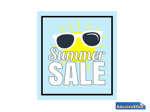 """Adesivo per vetrofanie dei negozi""""summer sale-sole quadrato"""" 50x55-100x110 cm"""