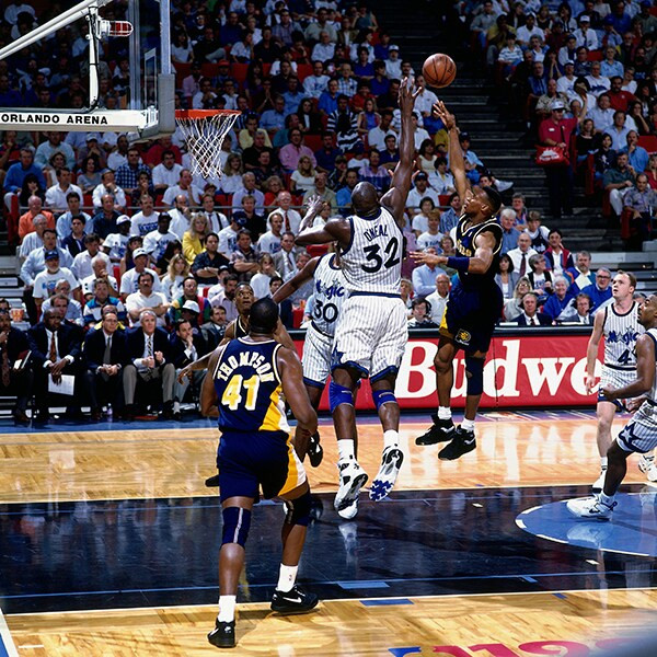 Shaquille O'Neal en las finales ante los Pacers. Crédito: NBA
