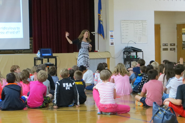 Tracy Speaking to fifth graders about writing