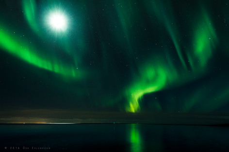 Moon and aurora