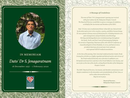 In Memoriam : Dato' Seri Dr S. Jenagaratnam