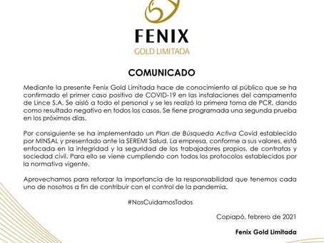 Comunicado Fenix Gold