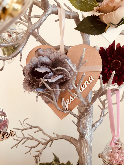 PERSONALISED HANGING HEART - DECORATIVE FLORAL   - GIFT BOXED -14.5CM