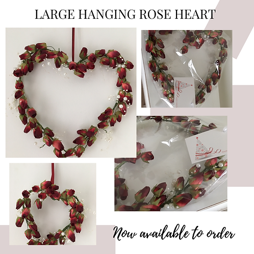 CHRISTMAS ROSE HEART WREATH - GIFT WRAPPED - 15CM