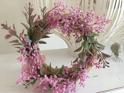 PINK FLORAL WREATH - GIFT BOXED - 16CM