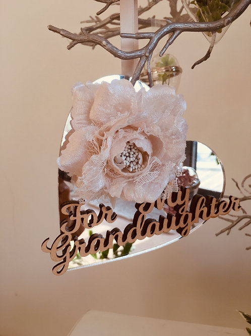 "PERSONALISED HANGING HEART - ""FOR MY GRANDDAUGHTER"" - GIFT BOXED -14.5CM"