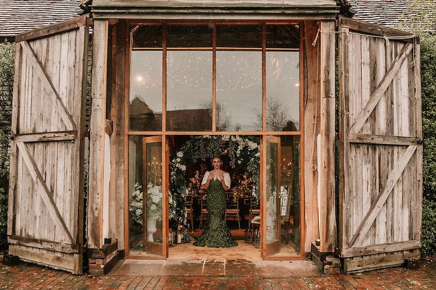 Faux Flower Wedding Dress Photoshoot at Alfriston Gardens