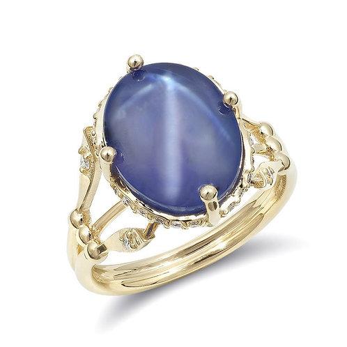 14k Yellow Gold 10.51ct TGW Star Sapphire and White Diamond Ring