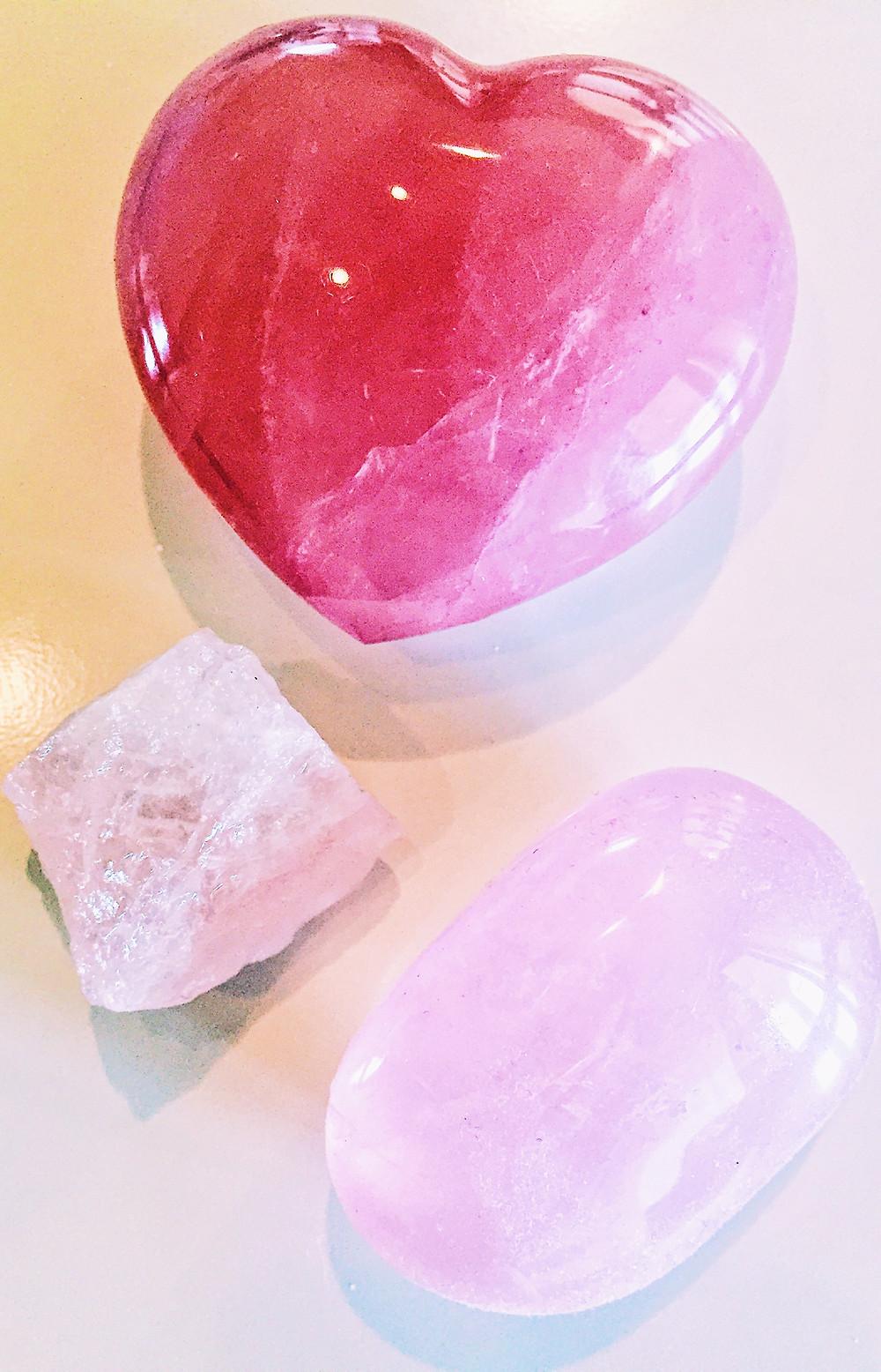 Three forms of rose quartz