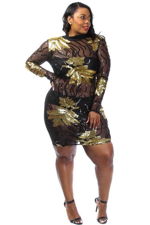 Gold Leaf Sequin Dress (Plus Size) | alteregofashions