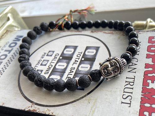 Armband Buddha onyx-lavasteen