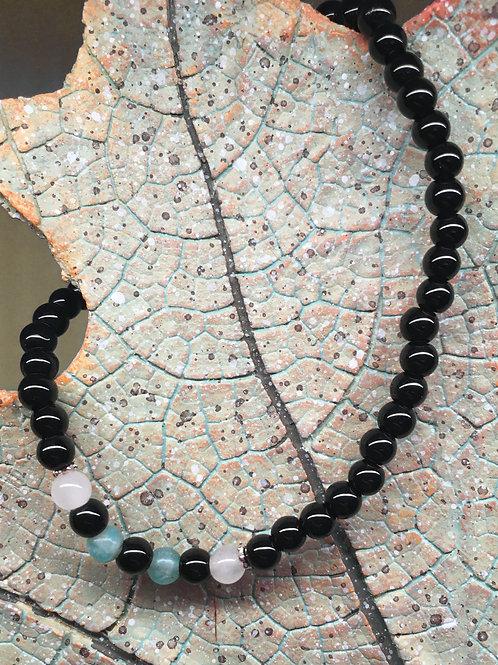 Armband Onyx-Amazoniet-Rozekwarts S