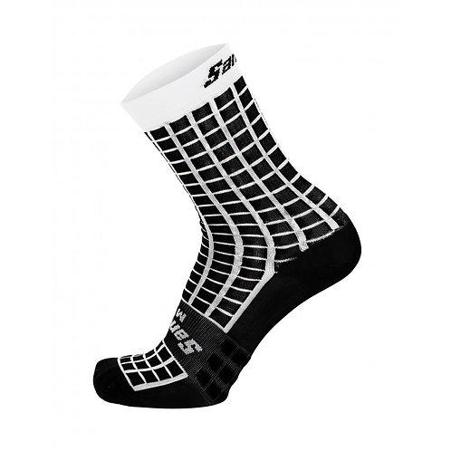 Santini GRIDO - Kerékpáros közép profilú zokni fekete-fehér