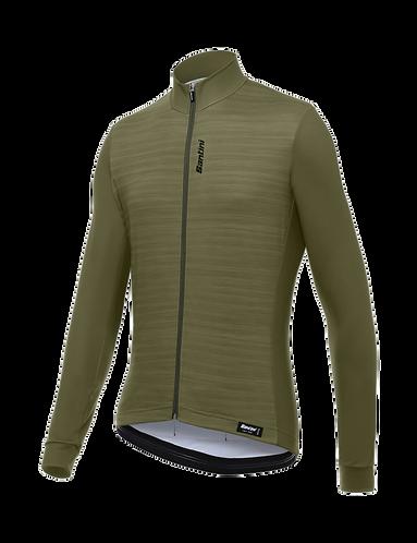 Santini CLASSE - THERMAL JERSEY MILITARY GREEN - Kerékpáros pulcsi