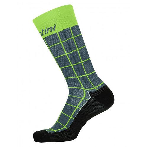 Santini DINAMO - PRINTED SOCKS GREEN - Kerékpáros zokni zöld