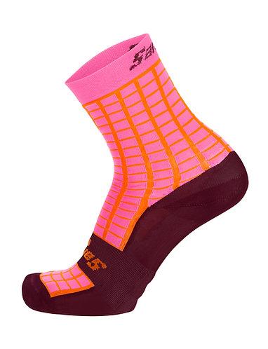 Santini GRIDO - Kerékpáros közép profilú zokni bordó
