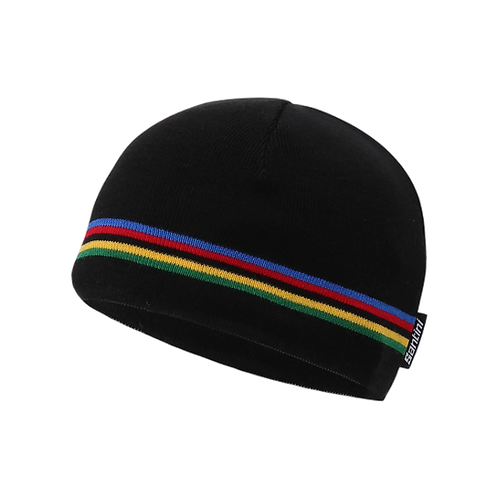 SANTINI UCI RAINBOW WOOL BEANIE - BLACK - UCI Gyapjú sapka