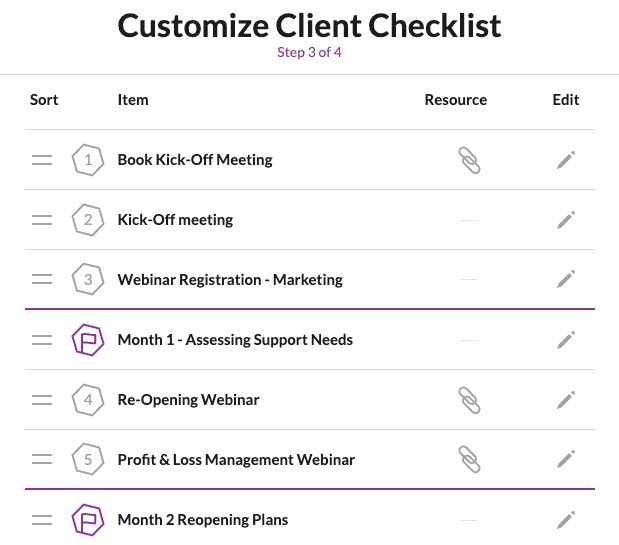 Customize Client Checklist