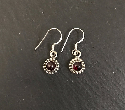 Round Garnet and Silver Earrings