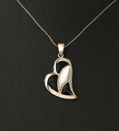 Black Onyx and Mother of Pearl Heart Pendant