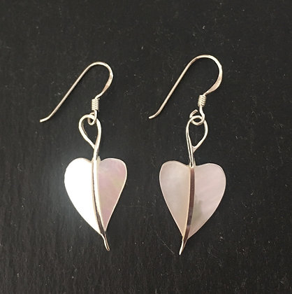 Mother Of Pearl and Silver Heart Earrings