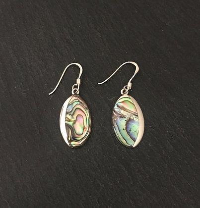 Oval Paua Shell and Silver Earrings