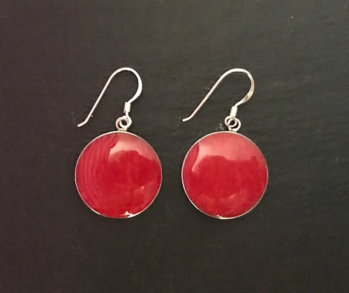Round Coral Drop Earrings