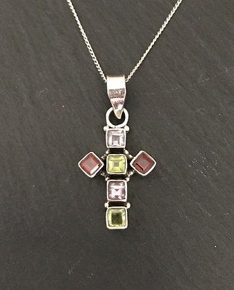 Mixed Stone Cross Pendant