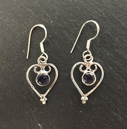 Iolite and Silver Heart Earrings