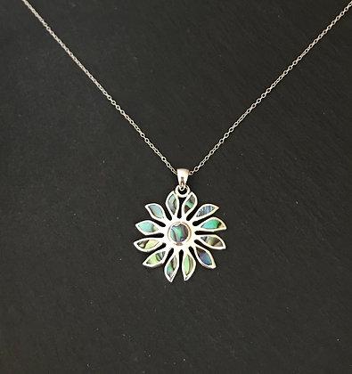 Paua Shell Silver Flower Pendant
