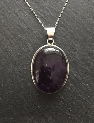 Oval Amethyst and Silver Pendant