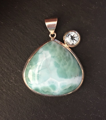 Larimar and Blue Topaz Teardrop Pendant