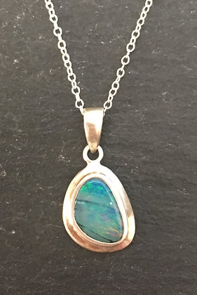 Fire Opal and Silver Pendant