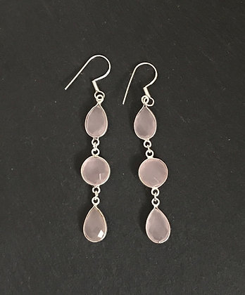 Three Stone Rose Quartz Drop Earrings
