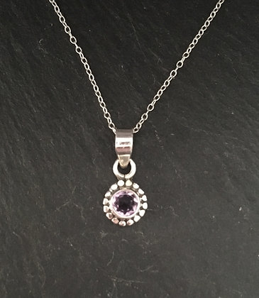 Amethyst and Silver Round Pendant