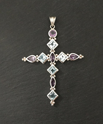 Amethyst and Blue Topaz Cross Pendant