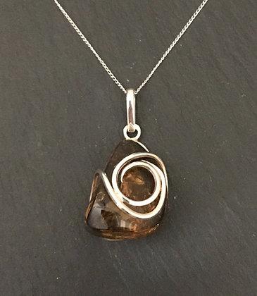 Amber and Handmade Silver Swirl Pendant